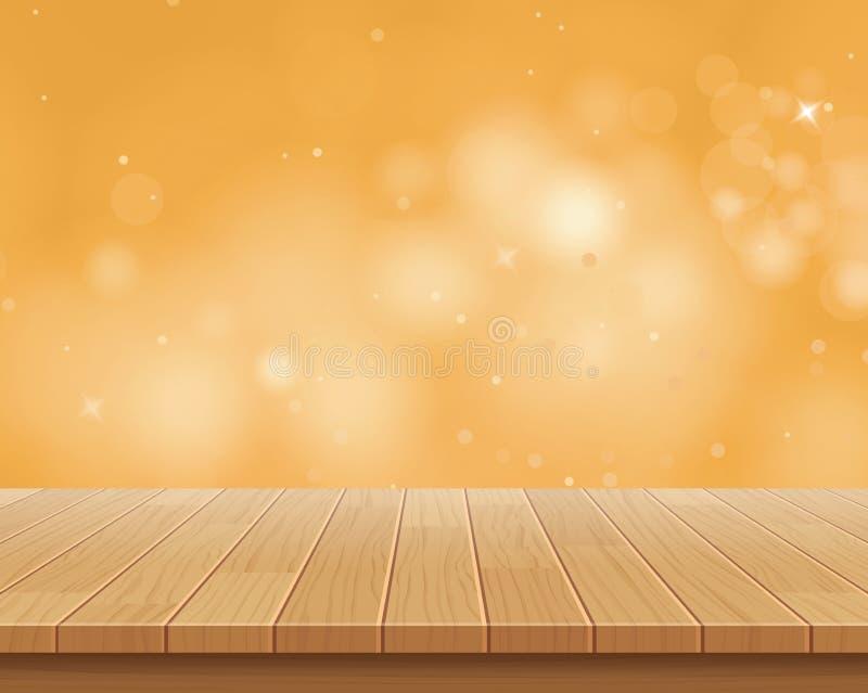 Hölzerne Tischplatte auf goldenem bokeh Zusammenfassungshintergrund vektor abbildung