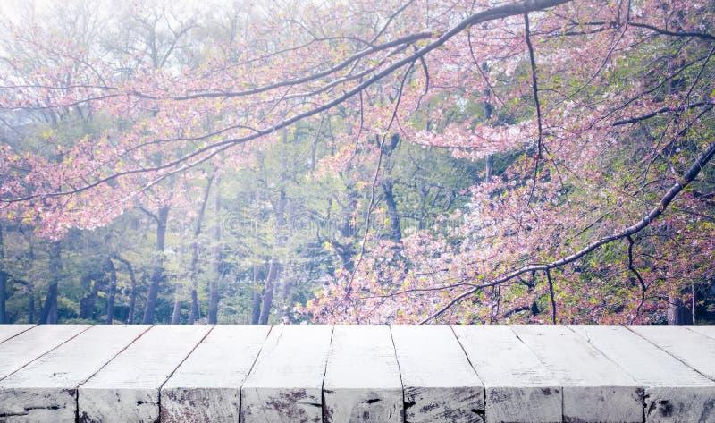 Hölzerne Tischplatte auf Unschärfekirschblüte-Blume im Gartenhintergrund nave lizenzfreies stockbild