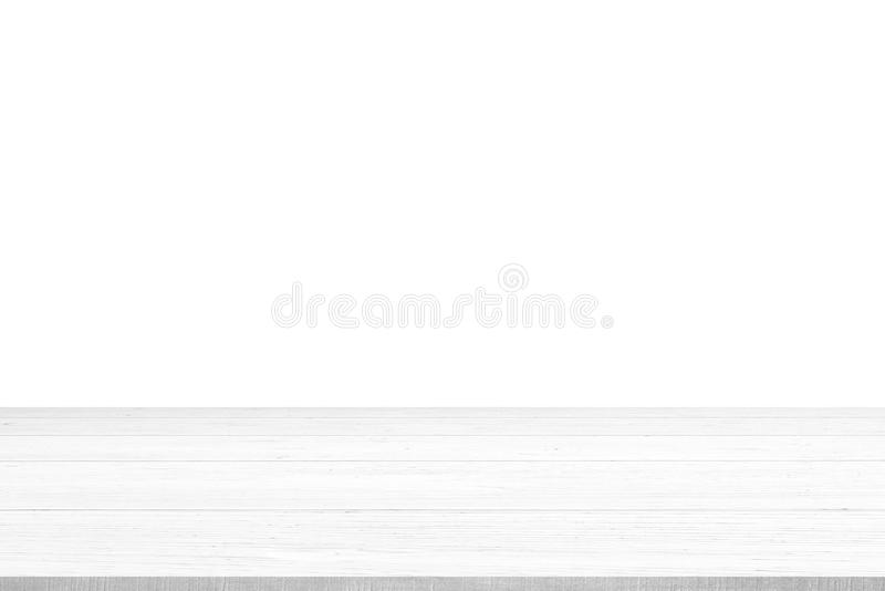 Hölzerne Tischplatte auf weißem Hintergrund stockbild