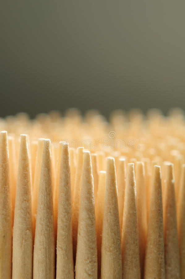 Hölzerne Toothpicks-Nahaufnahme stockfoto