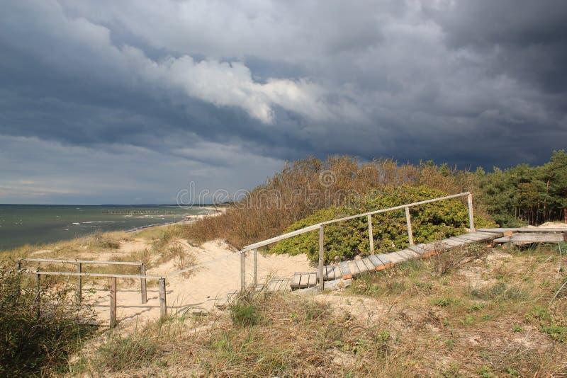 Hölzerne Treppe in den Dünen und in Forest Near The Baltic Sea-Sand setzt auf den Strand,/furchtsame erschreckende Sturmwolken lizenzfreie stockbilder