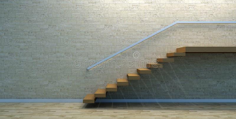 Hölzerne Treppe im leeren Innenraum lizenzfreie abbildung