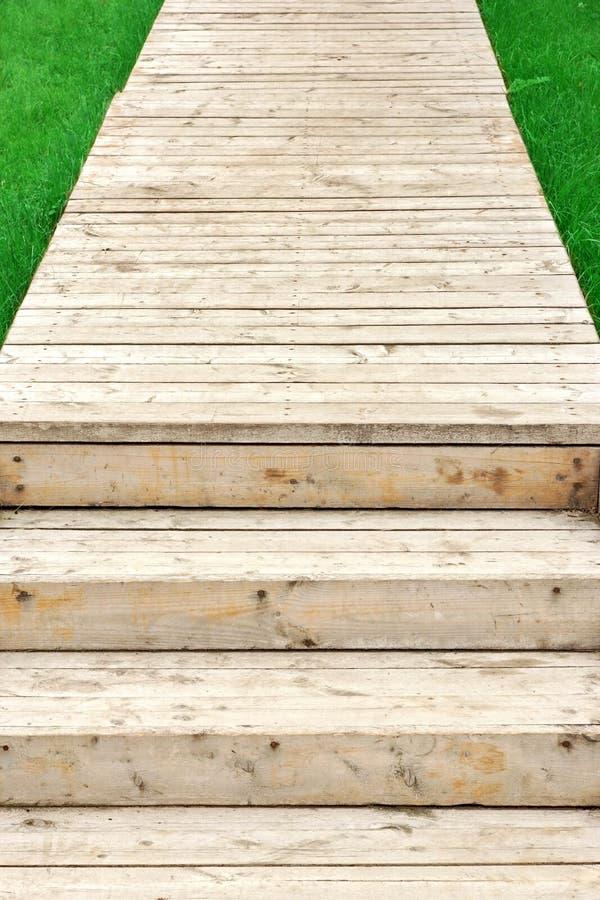Hölzerne Treppe und Promenade im Park lizenzfreie stockfotografie