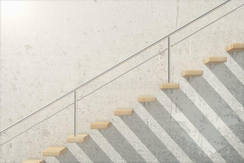 Hölzerne Treppenseite stock abbildung