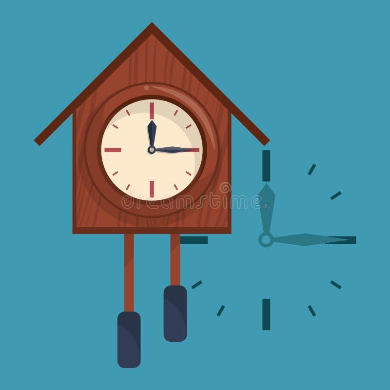 Hölzerne Uhr mit Glocken stock abbildung