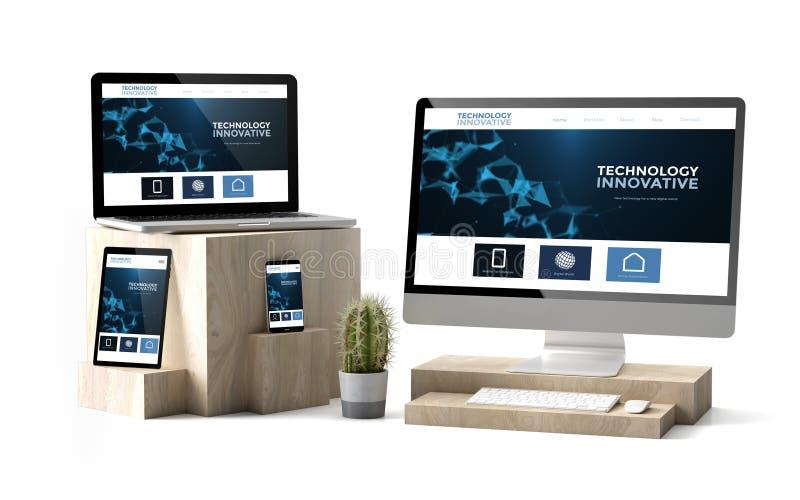 hölzerne Würfelgeräte lokalisierten Technologie innovatives entgegenkommendes w lizenzfreie stockfotos