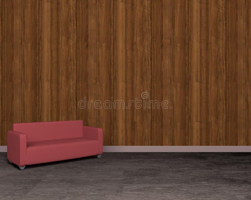 Hölzerne Wand der Weinlese und rotes Sofa auf Boden, Wiedergabe 3D lizenzfreie abbildung