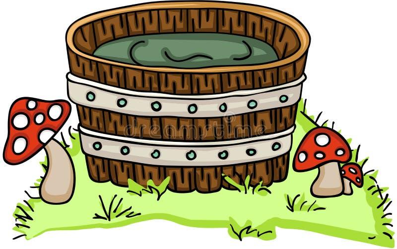 Hölzerne Wanne für ein Bad mit Pilzen vektor abbildung