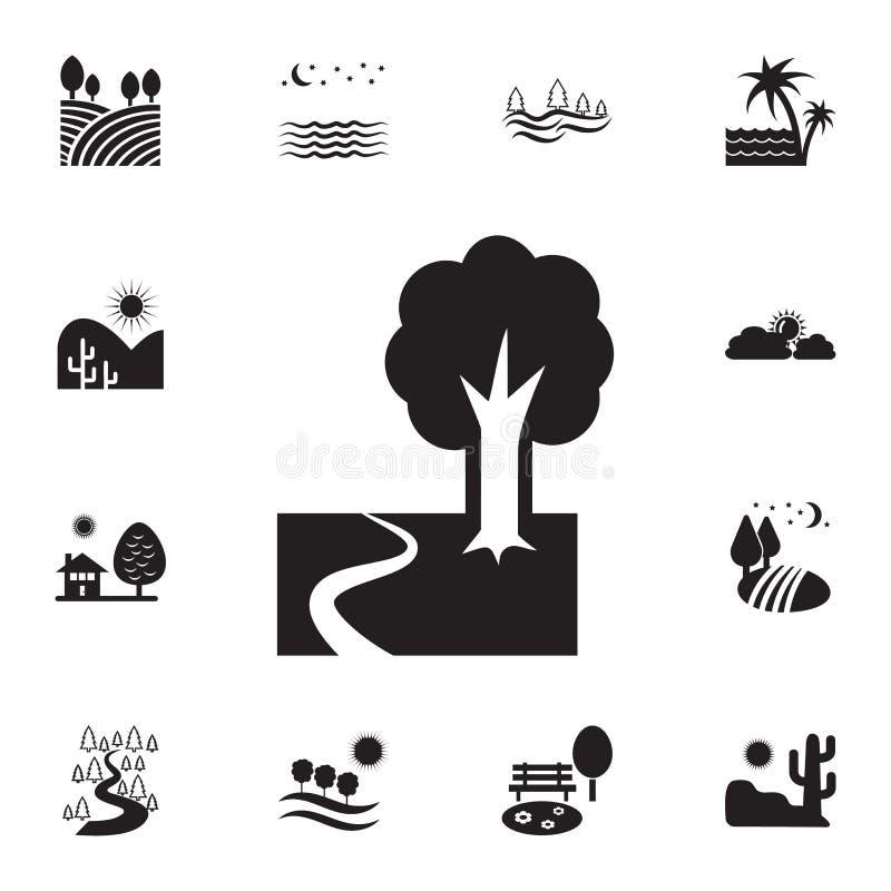 hölzerne Wegikone Ausführlicher Satz Landschaftsikonen Erstklassiges Grafikdesign Eine der Sammlungsikonen für Website, Webdesign stock abbildung