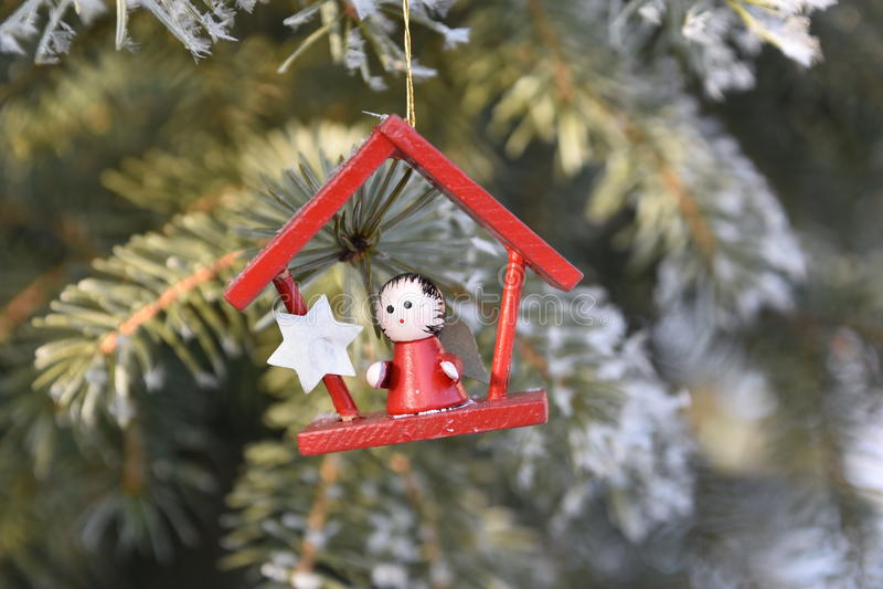 Hölzerne Weihnachtsdekoration stockfotos