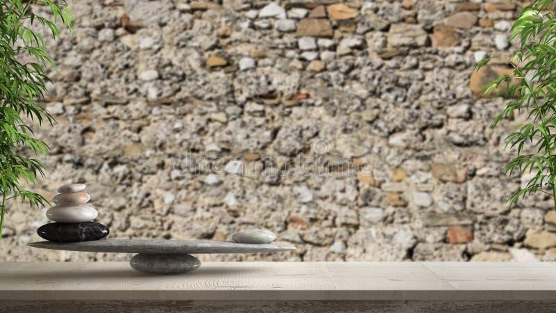 Hölzerne Weinlesetabelle oder -regal mit Steinbalance, über unscharfer alter Ziegelstein schädigender Steinwand, feng shui, Zenko lizenzfreies stockfoto