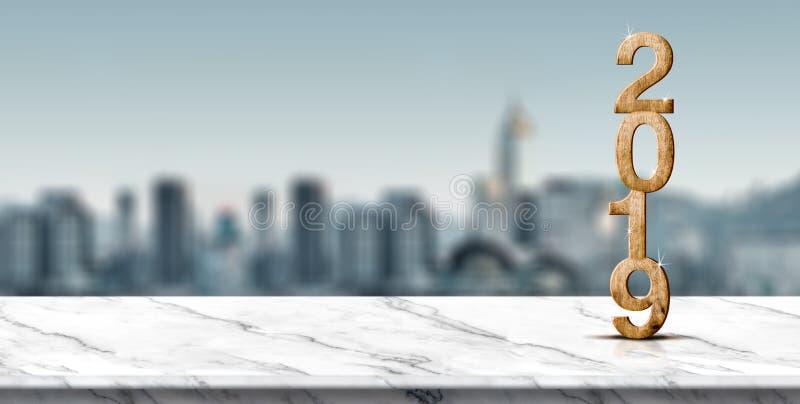 Hölzerne Wiedergabe der Zahl 3d des neuen Jahres 2019 auf weißer Marmortabelle a stockbild