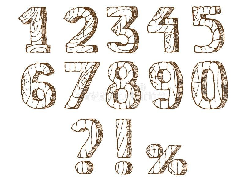 Hölzerne Zahlen eingestellt stock abbildung