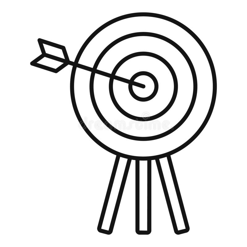 H?lzerne Zielikone des Bogenschie?ens, Entwurfsart vektor abbildung