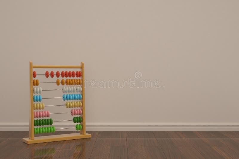 Hölzerner Abakus lokalisiert auf Illustration des Bretterbodens 3D lizenzfreie abbildung