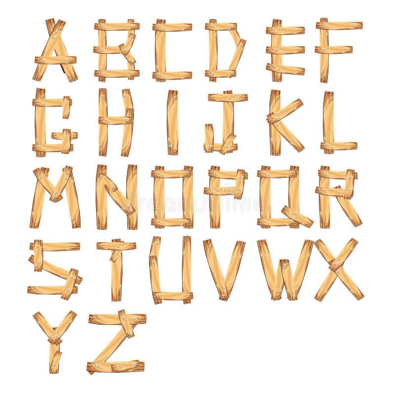 Hölzerner Alphabetvektor Illustration eines Satzes von hölzernem komischem ABC stock abbildung