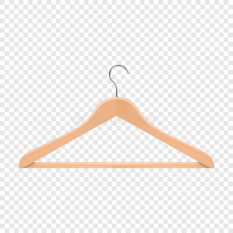 Hölzerner Aufhängerabschluß des realistischen Vektorkleidungsmantels oben lokalisiert auf Transparenzgitterhintergrund Designscha lizenzfreie abbildung