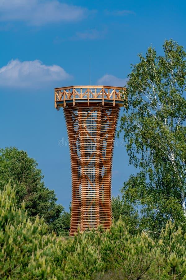 Hölzerner Aussichtsturm im Naturreservat Kyritz-Ruppiner Heide stockbild