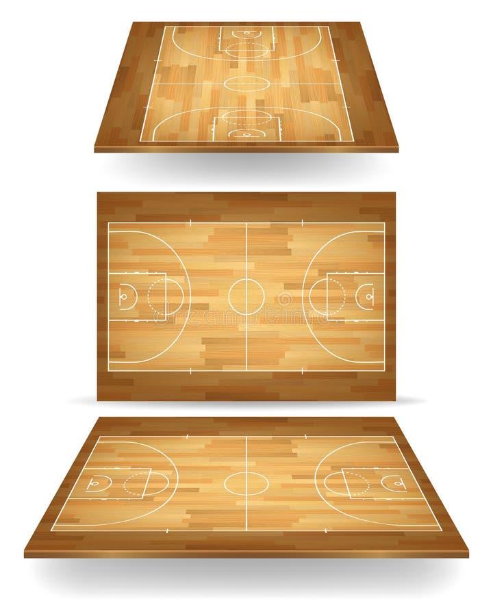 Hölzerner Basketballplatz mit Perspektive lizenzfreie abbildung