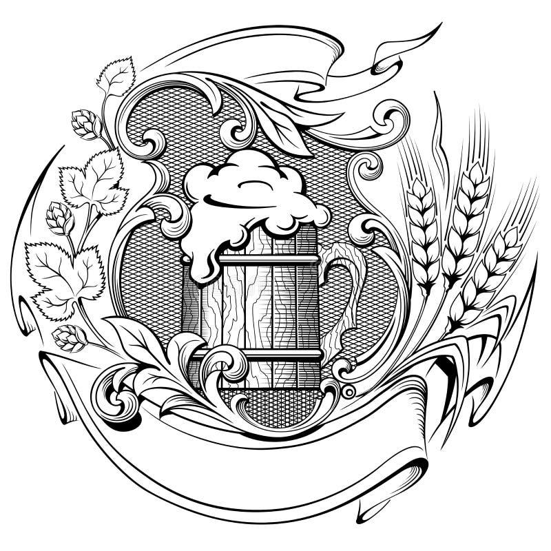 Hölzerner Bierkrug mit einem Kranz von den Hopfen und von Ohren des Weizens alt vektor abbildung