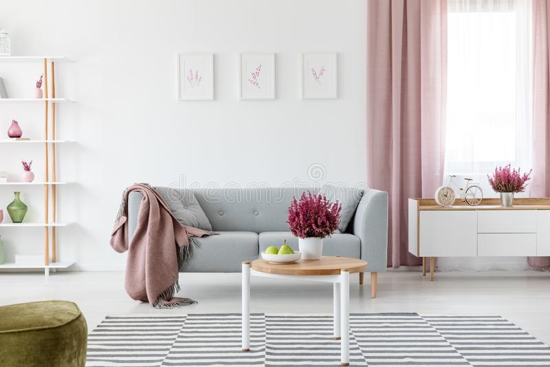 Hölzerner Couchtisch mit frischer Heide und Früchten auf Platte im wirklichen Foto des hellen Wohnzimmers Innen mit Plakaten auf  stockbilder