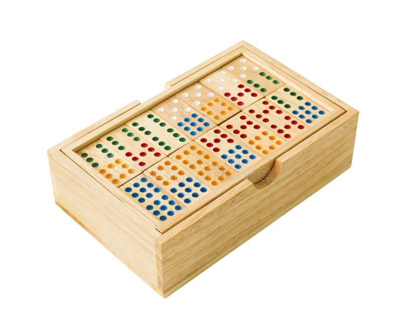 Hölzerner Domino im Kasten lizenzfreies stockfoto