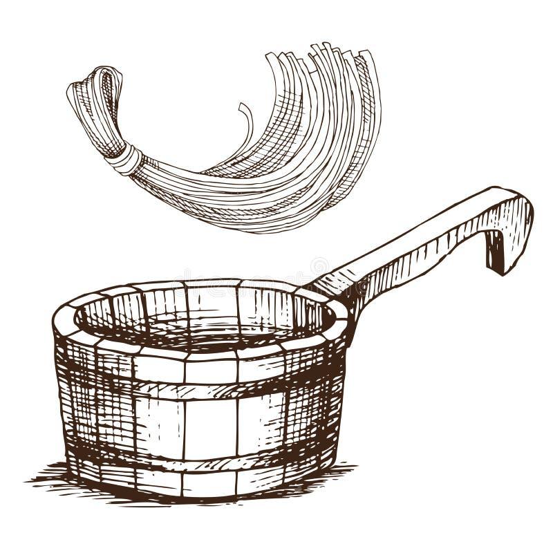 Hölzerner Eimer und ein Schwamm für das Waschen, für russisches Bad für Körperhygiene Satz Zubehör für Bad, Sauna Hand lizenzfreie abbildung