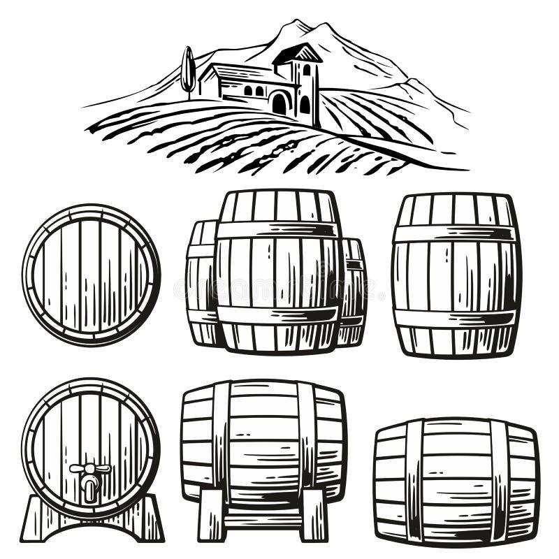 Hölzerner Fasssatz und ländliche Landschaft mit Landhaus, Weinbergfelder, Hügel, Berge Schwarzweiss-Weinlesevektorillustration stock abbildung