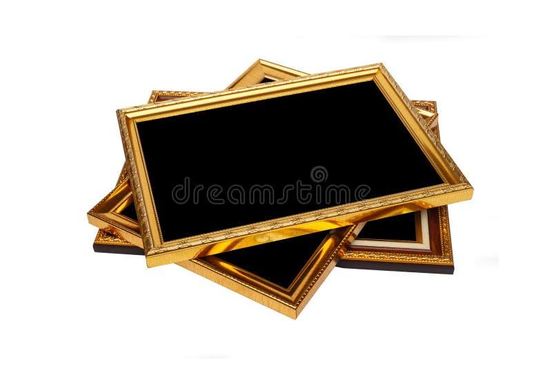 Hölzerner Fotorahmen der Goldweinlese lokalisiert auf Weiß Gespeichert mit Cl stockfotografie