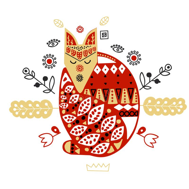Hölzerner Fuchs mit handgemachter Verzierung Skandinavische Art lizenzfreie abbildung