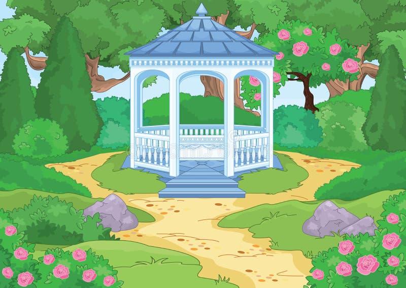 Hölzerner Gazebo in einem Garten lizenzfreie abbildung