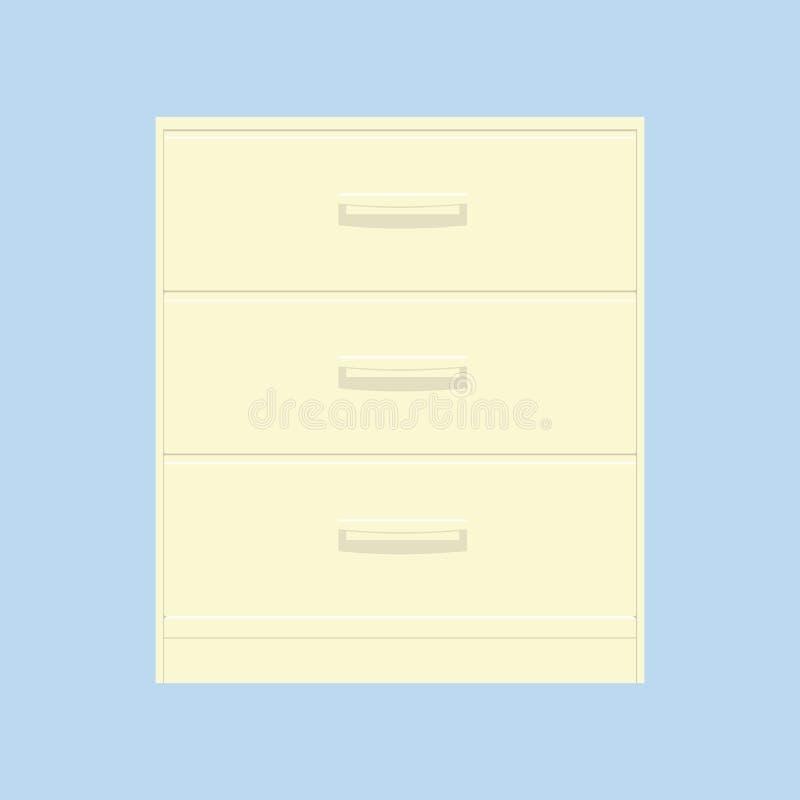 Hölzerner gelber Nachtstand lokalisiert auf blauem Hintergrund stock abbildung