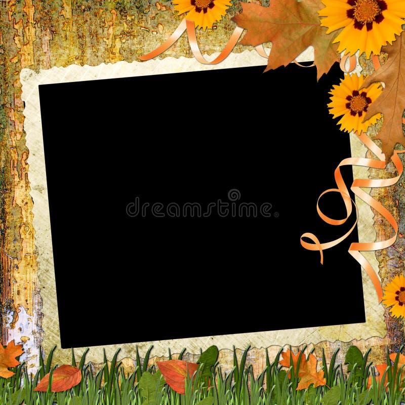 Hölzerner grungy Hintergrund mit Feld und Blumen vektor abbildung