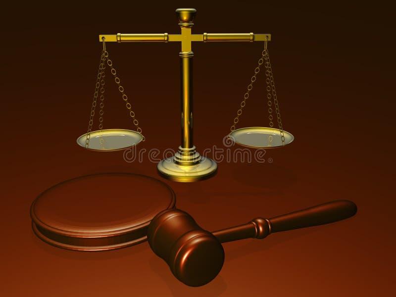 Hölzerner Hammer und Skalen vom Gericht stock abbildung