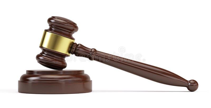 Hölzerner Hammer vom Gericht stock abbildung