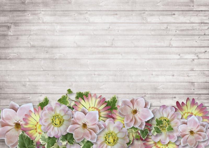 Hölzerner Hintergrund der Weinlese mit einer Grenze von empfindlichen Blumen stockbild