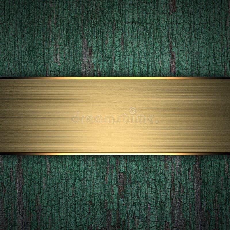 Hölzerner Hintergrund mit goldenem Band lizenzfreie abbildung