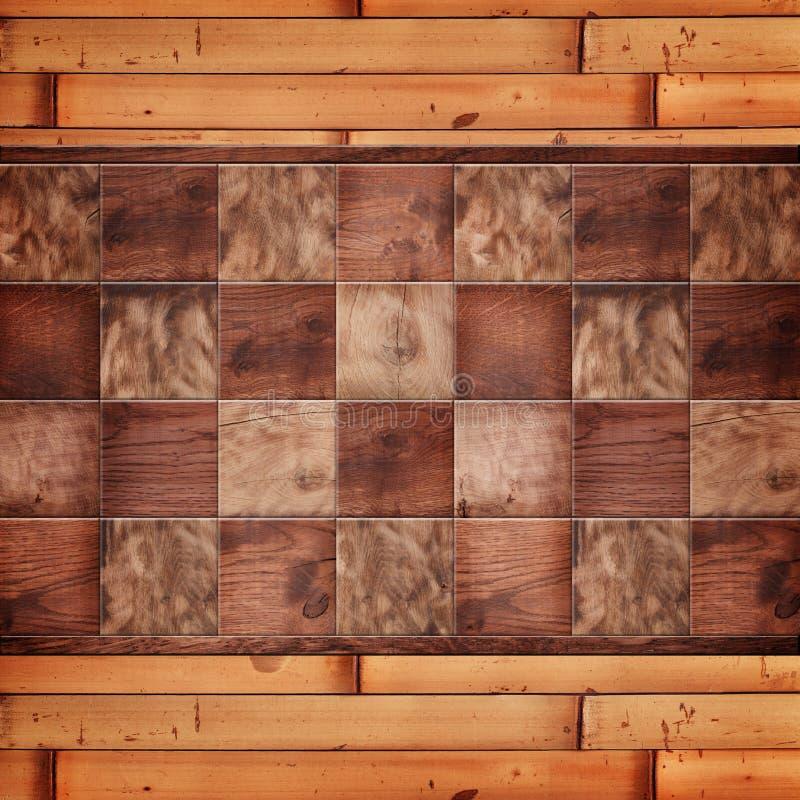 Hölzerner Hintergrund, Quadrate in einem Schachbrettmuster stockfoto
