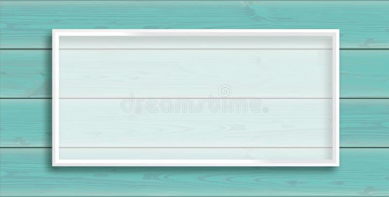 Hölzerner Hintergrund-Türkis-Planken-Titel-Weiß-Rahmen lizenzfreie abbildung
