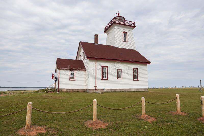 Hölzerner Insel-Strecken-Rückseiten-Leuchtturm auf Prinzen Edward Island stockbild