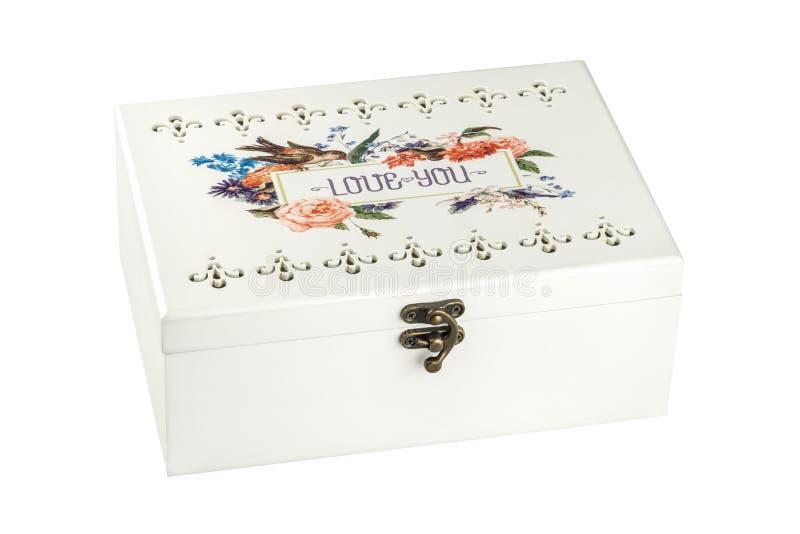 Hölzerner Kasten oder Kasten der Weinlese für Schmuck mit dem Blumenmuster, groß, lokalisiert auf weißem Hintergrund Beschneidung lizenzfreie stockfotos