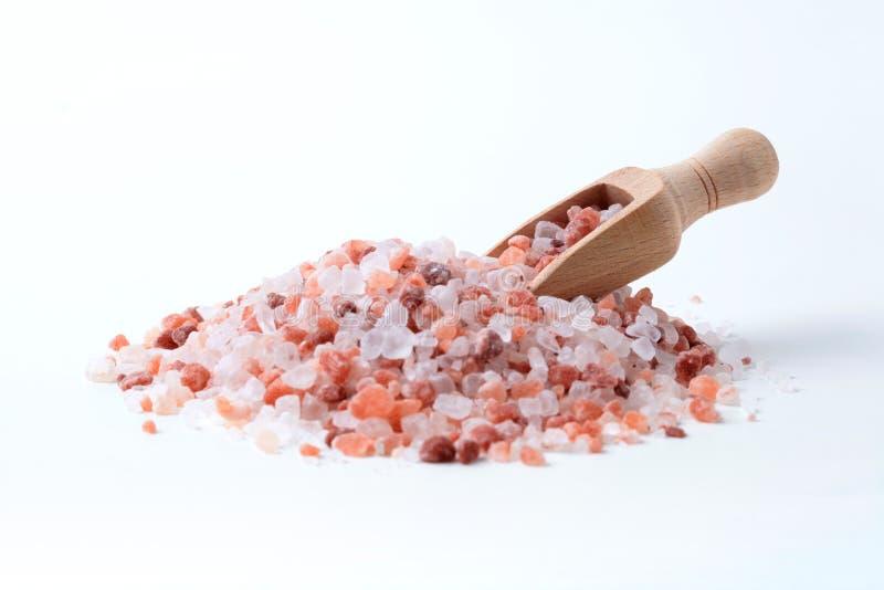 Hölzerner Löffel im Salz-Stapel stockfotografie