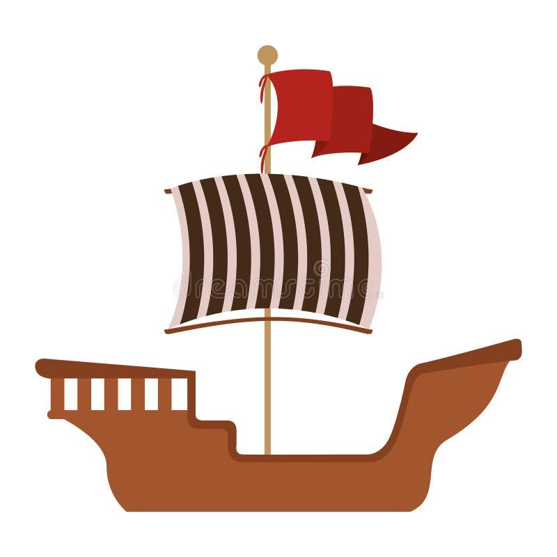 Hölzerner Lastkahn mit roter Fahne lizenzfreie abbildung