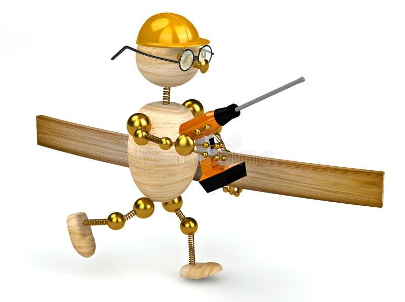 hölzerner Mann 3d mit einem Bohrgerät stock abbildung