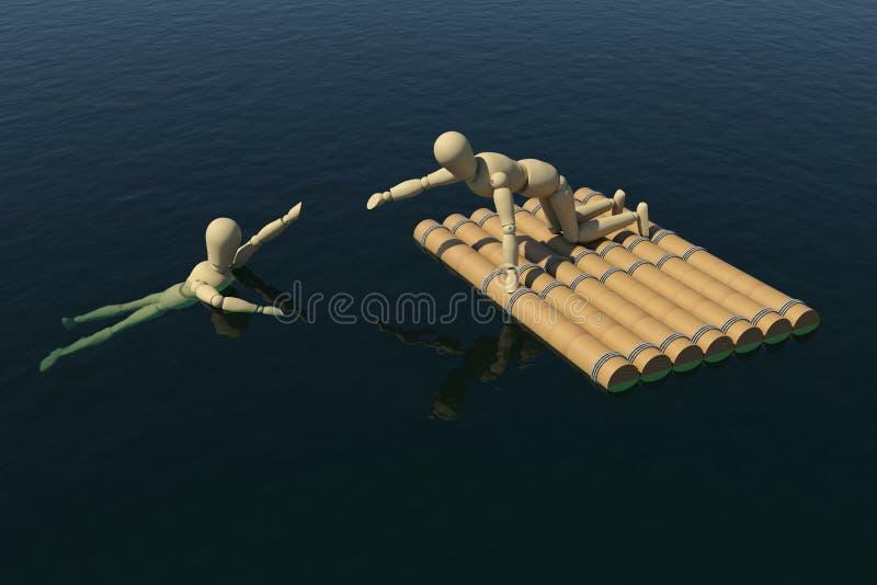 Hölzerner Mann auf einem Floß zog die Hand eines ertrinkenden Mannes stock abbildung