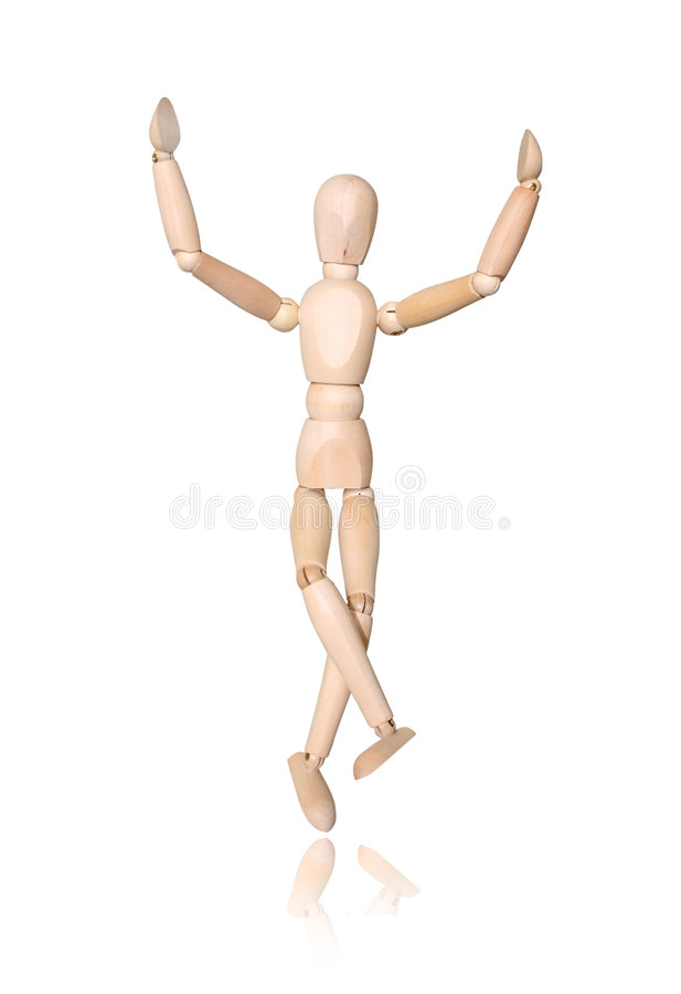 Hölzerner Mann, Hand oben lizenzfreies stockbild