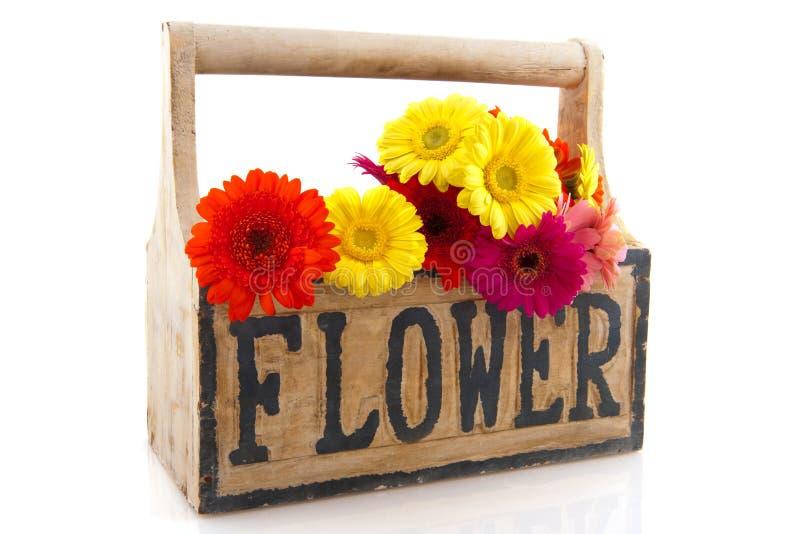 Hölzerner Rahmen mit Blumen lizenzfreie stockfotos