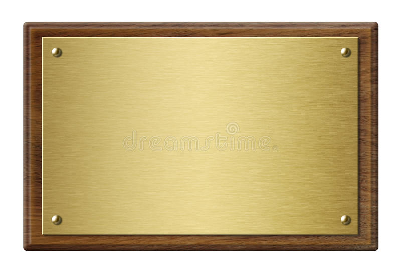 Hölzerner Rahmen mit Illustration der Goldmetallplakette 3d stockbilder