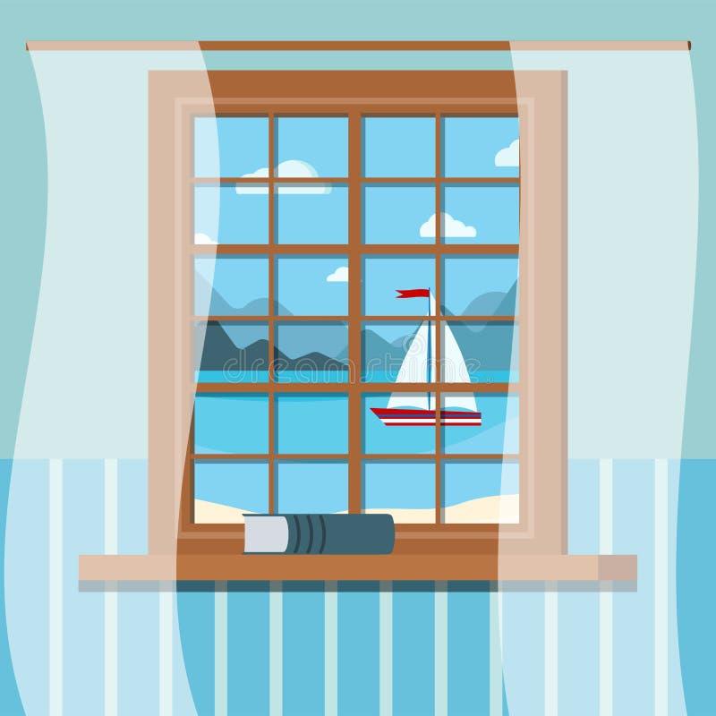 Hölzerner Raumfensterrahmen mit Buch und Vorhängen in der flachen Art der Karikatur vektor abbildung