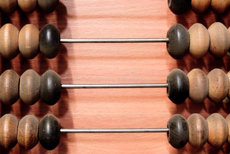 Hölzerner Rechenmaschinen-Abschluss oben stockfoto